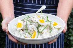 Home chef holding a bowl of potato salad Royalty Free Stock Photos