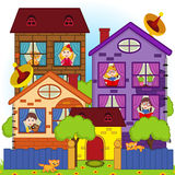 Home with the children in the windows Royalty Free Stock Photography