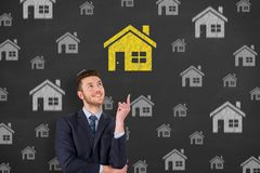 Home Choose on Blackboard Background Stock Photography