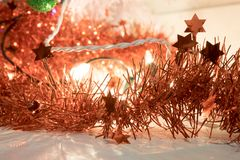 Home christmas lights with red decorative stars. Bright image with shiny lights royalty free stock photos