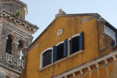 Home and church in Venice Stock Photography