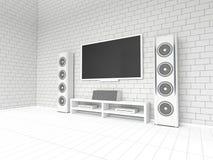 Home cinéma blanc moderne sur un fond blanc 3d Photos libres de droits