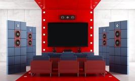 Home cinéma contemporain rouge et bleu Images libres de droits