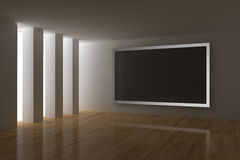 Home cinema. 3d render with big plasma screen Royalty Free Stock Image