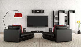 Home cinema. Living Room with home cinema equipment Stock Image