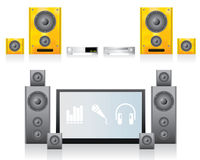Home Cinema. 2 LCD Home Cinema Illustrations Royalty Free Stock Photography