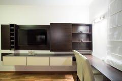 Home cinema. Big new home cinema in modern living room royalty free stock photo