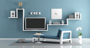 Home cinema. Blue living room with home cinema system- 3d rendering Royalty Free Stock Images