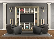 Home cinema in classic style Royalty Free Stock Images