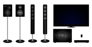 Home cinema collection. Vector illustration of home cinema collection - speakers, tv, player etc Stock Photos