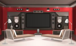 Home Cinema Interior With Red Walls Royalty Free Stock Photo