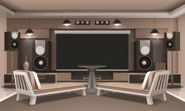 Home Cinema Interior With Round Table. Modern home cinema interior with acoustic system, screen, couches with cushions and round table 3d vector illustration Royalty Free Stock Images