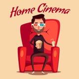 Home cinema. Movie watching. Cartoon vector illustration. Cinema Time. Home movie watching. Cartoon vector illustration. Red sofa. Web, banner and logo design Royalty Free Stock Image