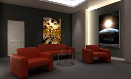 Home Cinema. Room - Back view Stock Photography
