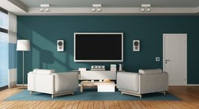 Home cinema room. Blue and white living room with home cinema system - 3d rendering Royalty Free Stock Image
