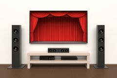 Home cinema set. With large lcd tv panel with theater curtains, music speakers, video disc player. Movie presentation, blockbuster, revealing new tv show, sale Stock Photos