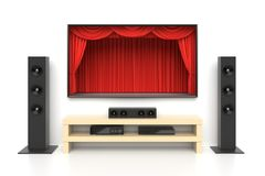 Home cinema set. With large lcd tv panel with theater curtains, music speakers, video disc player. Movie presentation, blockbuster, revealing new tv show, sale Royalty Free Stock Photography