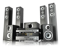 Home cinema speaker system. Loudspeakers, player and receiver. Home cinema speaker system. Loudspeakers, player and receiver  on white. 3d Royalty Free Stock Photography