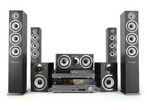 Home cinema speaker system. Loudspeakers, player and receiver. Royalty Free Stock Photo