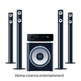 Home cinema speker system. Vector home cinema speaker system detalized set Royalty Free Stock Photography