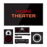 Home cinema system. Home theater flat  illustration Stock Photos