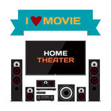 Home cinema system. Home theater flat vector illustration for mu Stock Photography