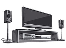 Home cinema system. Illustration of modern home cinema system Stock Photography