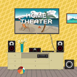 Home cinema system in interior room. Home theater flat vector Royalty Free Stock Photo