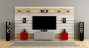 Home cinema system. Living room with home cinema system- 3d rendering Stock Photos