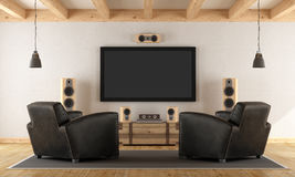 Home cinema system with vintage furniture Stock Photos
