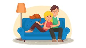 Home Cinema Vector. Home Room With TV Screen. Using Television Together. Online Home Movie. Cartoon Character.  Royalty Free Stock Image