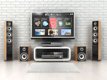 Home cinemar system. TV,  oudspeakers, player and receiver  in t Stock Photos