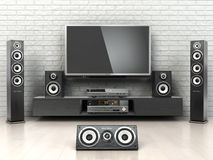 Home cinemar system. TV,  oudspeakers, player and receiver  in t. He room. 3d Royalty Free Stock Photos