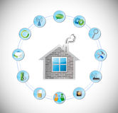 Home and circle with tools illustration Royalty Free Stock Image