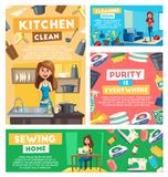 Home cleaning, dish washing and sewing service. Home cleaning, kitchen dish washing and sewing service. working poster. Vector woman at housework vacuum cleaner vector illustration
