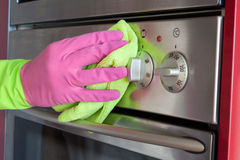 Home cleaning oven in the kitchen royalty free stock photo
