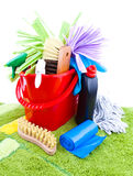 Home cleaning supplies Stock Image