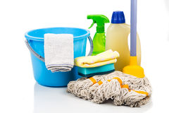 Home cleaning tool set of detergent, mop, sponge, spray, towel a Stock Images