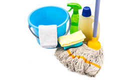Home cleaning tool set of detergent, mop, sponge, spray, towel a Stock Photography