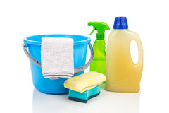 Home cleaning tool set of detergent, sponge, spray, towel and pa Stock Image