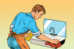 Home cleaning washing kitchen sinks, man works. Vintage pop art retro vector illustration Stock Images