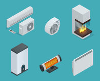 Home climate equipment isometric icon set fireplace, Convector Heater, electric heater, Infrared heater, Boiler Stock Photos