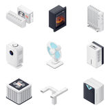 Home climate equipment isometric icon set Stock Photos