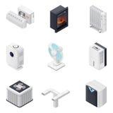 Home climate equipment isometric icon set Stock Photos