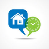 Home and clock in message bubble Stock Photography