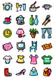 Home and clothing icons stock photography