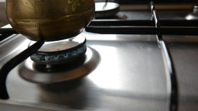 The home coffee in stove. stock video