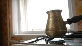 The home coffee in stove. stock footage