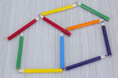 Home of colored pencils. House made with colored pencils Royalty Free Stock Photos