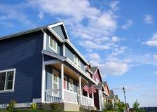 HOME coloridas da vizinhança Foto de Stock Royalty Free